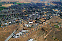 aerial photograph of Nut Tree Airport (VCB), Vacaville,  Solano County,California;  I-80 and the city of Vacaville in the backgroud
