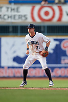 Lake County Captains shortstop Ernie Clement (31) during the first game of a doubleheader against the South Bend Cubs on May 16, 2018 at Classic Park in Eastlake, Ohio.  South Bend defeated Lake County 6-4 in twelve innings.  (Mike Janes/Four Seam Images)