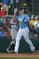 Myrtle Beach Pelicans outfielder Josh Richmond #3 touching home plate after hitting a home run during the first game of a doubleheader against the Carolina Mudcats at Tickerreturn.com Field at Pelicans Ballpark on May 10, 2012 in Myrtle Beach, South Carolina. Myrtle Beach defeated Carolina by the score of 2-1. (Robert Gurganus/Four Seam Images)