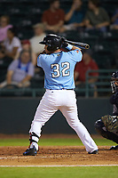 Melvin Novoa (32) of the Hickory Crawdads at bat against the Charleston RiverDogs at L.P. Frans Stadium on August 10, 2019 in Hickory, North Carolina. The RiverDogs defeated the Crawdads 10-9. (Brian Westerholt/Four Seam Images)