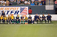LA Galaxy bench with head coach Ruud Gullit far right during a MLS match. The LA Galaxy defeated Chivas USA 5-2 during the SuperClasico at the Home Depot Center Stadium, in Carson, California, Saturday, April 26, 2008.