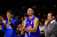 Taane Samuel of the Wellington Saints during the round one NBL match between the Wellington Saints and the Canterbury Rams at TSB Bank Arena, Wellington, New Zealand on Friday 30 April 2021.<br /> Photo by Masanori Udagawa. <br /> www.photowellington.photoshelter.com