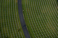 Aerial over the American War memorial and Cemetery, Manila, Philippines