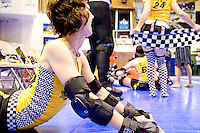 Bonnie Thunders of the Bronx Gridlock gets ready to clash against the Manhattan Mayhem at a Gotham Girls Roller Derby bout in New York City on May 6, 2006.