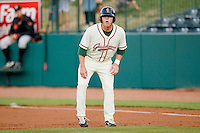 Sequoyah Stonecipher #35 of the Greensboro Grasshoppers takes his lead off of first base against the Delmarva Shorebirds at NewBridge Bank Park April 15, 2010, in Greensboro, North Carolina.  Photo by Brian Westerholt / Four Seam Images