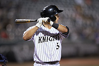 Nick Madrigal (3) of the Charlotte Knights at bat against the Scranton/Wilkes-Barre RailRiders at BB&T BallPark on August 14, 2019 in Charlotte, North Carolina. The Knights defeated the RailRiders 13-12 in ten innings. (Brian Westerholt/Four Seam Images)