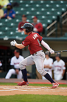 Lehigh Valley IronPigs outfielder Cody Asche (5) at bat during a game against the Rochester Red Wings on May 15, 2015 at Frontier Field in Rochester, New York.  Rochester defeated Lehigh Valley 5-4.  (Mike Janes/Four Seam Images)