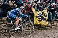 defending champion (#1) Philippe Gilbert (BEL/Quick Step floors) cheered up the Kapelmuur /Muur van Geraardsbergen<br /> <br /> 102nd Ronde van Vlaanderen 2018 (1.UWT)<br /> Antwerpen - Oudenaarde (BEL): 265km