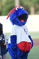 Tampa Yankees mascot Blue before a game against the Daytona Tortugas on April 24, 2015 at George M. Steinbrenner Field in Tampa, Florida.  Tampa defeated Daytona 12-7.  (Mike Janes/Four Seam Images)
