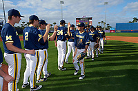 Michigan Wolverines Cody Bruder (3), Michael Brdar (9), and Jake Bivens (18) high five teammates after the second game of a doubleheader against the Canisius College Golden Griffins on February 20, 2016 at Tradition Field in St. Lucie, Florida.  Michigan defeated Canisius 3-0.  Jonathan Engelmann (2), Jack Bredeson (34) also shown.  (Mike Janes/Four Seam Images)