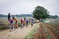 Dries Van Gestel (BEL/Total Direct Energie) leading the breakaway group on the Prinsenbos gravel section<br /> <br /> 17th Dwars Door Het Hageland 2021<br /> One Day Race: Aarschot – Diest 18Okm (UCI 1.Pro)<br /> Bingoal Cycling Cup 2021<br /> <br /> ©kramon