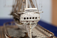 BNPS.co.uk (01202) 558833. <br /> Pic: CorinMesser/BNPS<br /> <br /> A model ship exquisitely carved out of animal bone by a French Prisoner of War during the Napoleonic Wars is expected to sell for £6,000.<br /> <br /> The 48-gun Royal Navy frigate was fashioned by a French PoW locked in Portchester Castle, Hants, over 200 years ago, using animal bones left over from rations. <br /> <br /> The medieval fortress became a jail for over 7,000 French prisoners during the Napoleonic Wars, which lasted from 1793 to 1815.<br /> <br /> Many used their endless hours locked away to craft beautifully detailed ships which were sold at market.