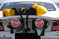 Apr. 7, 2013; Las Vegas, NV, USA: Detailed view of the parachute packs for NHRA pro stock driver Allen Johnson during the Summitracing.com Nationals at the Strip at Las Vegas Motor Speedway. Mandatory Credit: Mark J. Rebilas-