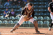 Bethune-Cookman Wildcats catcher Melissa Berouty (7) during a game against the Michigan Wolverines on February 9, 2014 at the USF Softball Stadium in Tampa, Florida.  Michigan defeated Bethune-Cookman 12-1.  (Copyright Mike Janes Photography)
