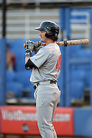 Brevard County Manatees outfielder Clint Coulter (40) waits on deck during a game against the Dunedin Blue Jays on April 23, 2015 at Florida Auto Exchange Stadium in Dunedin, Florida.  Brevard County defeated Dunedin 10-6.  (Mike Janes/Four Seam Images)