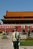 An honour guard in front of Tiananment Gate, Tiananmen Square Beijing, China. It is one of China's most important historical and cultural tourist sites in the Chinese capital....16 Sep 05