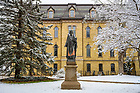 January 4, 2020;  Statue of St. Edward outside St. Edward's Hall after a snowfall.  (Photo by Barbara Johnston/University of Note Dame)