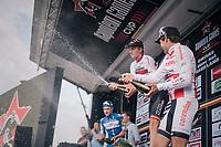 champagne shower by race winner Krists Neilands (LAT/Israel Cycling Academy)<br /> <br /> 3rd Dwars Door Het hageland 2018 (BEL)<br /> 1 day race:  Aarschot > Diest: 198km