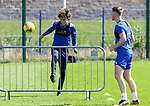 St Johnstone Training...14.08.21<br />Murray Davidson pictured playing foot tennis with Jamie McCart during training at McDiarmid Park this morning ahead of tomorrow's Premier Cup game at Arbroath.<br />Picture by Graeme Hart.<br />Copyright Perthshire Picture Agency<br />Tel: 01738 623350  Mobile: 07990 594431