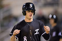 Zach Remillard (8) of the Kannapolis Intimidators returns to the dugout after scoring a run against the Lakewood BlueClaws at Kannapolis Intimidators Stadium on April 6, 2017 in Kannapolis, North Carolina.  The BlueClaws defeated the Intimidators 7-5.  (Brian Westerholt/Four Seam Images)