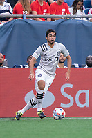 FOXBOROUGH, MA - JULY 25: Mathieu Choiniere #29 of CF Montreal on the sideline preparing to bring the ball forward during a game between CF Montreal and New England Revolution at Gillette Stadium on July 25, 2021 in Foxborough, Massachusetts.