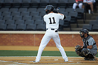 Shane Muntz (11) of the Wake Forest Demon Deacons at bat against the Davidson Wildcats at David F. Couch Ballpark on May 7, 2019 in  Winston-Salem, North Carolina. The Demon Deacons defeated the Wildcats 11-8. (Brian Westerholt/Four Seam Images)