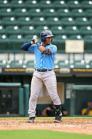 FCL Rays Mario Fernandez (59) bats during a game against the FCL Pirates Gold on July 26, 2021 at LECOM Park in Bradenton, Florida. (Mike Janes/Four Seam Images)