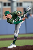 Eastern Michigan Eagles pitcher Tyler Koons (2) delivers a pitch to the plate during the NCAA baseball game against the Michigan Wolverines on May 8, 2019 at Ray Fisher Stadium in Ann Arbor, Michigan. Michigan defeated Eastern Michigan 10-1. (Andrew Woolley/Four Seam Images)