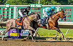July 18, 2020: Authentic #2, ridden Mike Smith, outlasts a hard charging NY Traffic #7, ridden by Paco Lopez, to win the Haskell Invitational by a nose on Haskell Invitational Day at Monmouth Park Racecourse in Oceanport, New Jersey. Charles Toler/Eclipse Sportswire/CSM