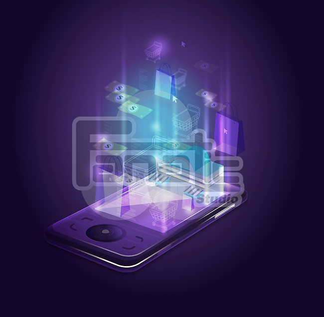 Abstract shot of smart phone depicting online shopping