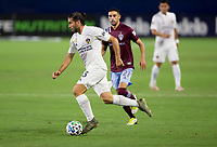 CARSON, CA - SEPTEMBER 19: Emiliano Insua #3 of the Los Angeles Galaxy moves dribbles with the ball during a game between Colorado Rapids and Los Angeles Galaxy at Dignity Heath Sports Park on September 19, 2020 in Carson, California.