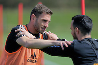 (L-R) Angel Rangel and Leon Britton during the Swansea City FC training at Fairwood, Swansea, Wales, UK on Wednesday 04 May 2016