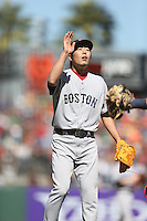 SAN FRANCISCO, CA - AUGUST 21:  Koji Uehara #19 of the Boston Red Sox celebrates after the game against the San Francisco Giants during the game at AT&T Park on Wednesday, August 21, 2013 in San Francisco, California. Photo by Brad Mangin