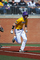 Christian Jayne (12) of the East Carolina Pirates hustles down the first base line against the Charlotte 49ers at Hayes Stadium on March 8, 2020 in Charlotte, North Carolina. The Pirates defeated the 49ers 4-1. (Brian Westerholt/Four Seam Images)