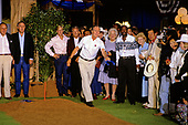 United States President George H.W. Bush plays Horseshoes with Prime Minister Toshiki Kaifu of Japan, Prime Minister Brian Mulroney of Canada and Denis Thatcher, husband of Prime Minister Margaret Thatcher of Great Britain prior to the Economic Summit in Houston, Texas on Sunday, July 8, 1990.  First lady Barbara Bush looks on.<br /> Credit: Ron Sachs / CNP