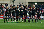 Bayer 04 Leverkusen´s players gather during penalty shootouts at the UEFA Champions League round of 16 second leg match between Atletico de Madrid and Bayer 04 Leverkusen at Vicente Calderon stadium in Madrid, Spain. March 17, 2015. (ALTERPHOTOS/Victor Blanco)