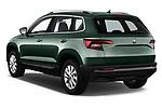 Car pictures of rear three quarter view of a 2018 Skoda Karoq Ambition 5 Door SUV angular rear