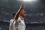 Real Madrid´s Cristiano Ronaldo (R) celebrates with Sergio Ramos after scoring a goal (1-0) at a penalty kick during the Champions League semi final soccer match between Real Madrid and Juventus at Santiago Bernabeu stadium in Madrid, Spain. May 13, 2015. (ALTERPHOTOS/Victor Blanco)
