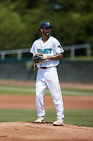 Lynchburg Hillcats starting pitcher Lenny Torres (41) looks to his catcher for the sign against the Myrtle Beach Pelicans at Bank of the James Stadium on May 23, 2021 in Lynchburg, Virginia. (Brian Westerholt/Four Seam Images)