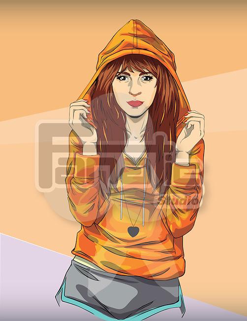 Illustration of trendy teenage girl in orange hooded jacket against colored background