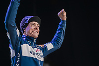 victory joy for Niki Terpstra (NED/Quick-Step Floors)<br /> <br /> 61th E3 Harelbeke 2018 (1.UWT)<br /> Harelbeke > Harelbeke (206km)