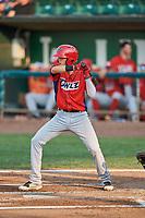 Livan Soto (7) of the Orem Owlz bats against the Ogden Raptors at Lindquist Field on August 3, 2018 in Ogden, Utah. The Raptors defeated the Owlz 9-4. (Stephen Smith/Four Seam Images)
