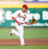 Kolten Wong (4) of the Springfield Cardinals fields a ground ball during a game against the Arkansas Travelers at Hammons Field on May 5, 2012 in Springfield, Missouri. (David Welker/Four Seam Images)