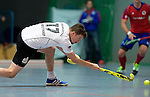 GER - Mannheim, Germany, November 28: During the 1. Bundesliga Sued Herren indoor hockey match between Mannheimer HC (red) and TG Frankenthal (white) on November 28, 2015 at Irma-Roechling-Halle in Mannheim, Germany. Final score 7-7 (HT 3-3). (Photo by Dirk Markgraf / www.265-images.com) *** Local caption *** Timo Schmietenknop #17 of TG Frankenthal