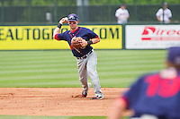 Shortstop Jason Martinson #11 of the Hagerstown Suns makes a throw to first base against the Rome Braves at State Mutual Stadium on May 1, 2011 in Rome, Georgia.   Photo by Brian Westerholt / Four Seam Images