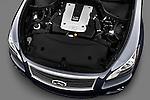 High angle engine detail of a 2011 Infiniti M37S Sedan .