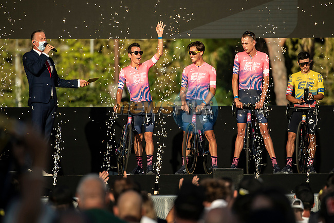 EF Pro Cycling on stage at the team presentation before the Tour de France 2020, Nice, France. 27th August 2020.<br /> Picture: ASO/Alex Broadway | Cyclefile<br /> All photos usage must carry mandatory copyright credit (© Cyclefile | ASO/Alex Broadway)
