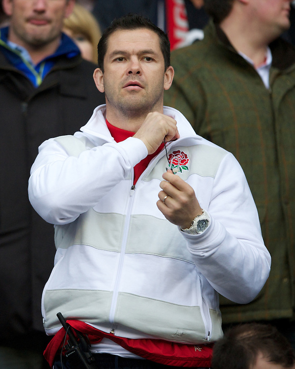 Andy Farrell, England Backs Coach, looks on during the QBE Autumn International match between England and South Africa at Twickenham on Saturday 24 November 2012 (Photo by Rob Munro)