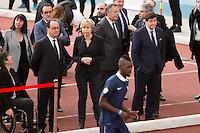 FRANCOIS HOLLANDE A L'INSEP POUR L'EVENEMENT '11 TRICOLORE, LA FRANCE AU RENDEZ-VOUS' EN PRESENCE DE PATRICE KANNER