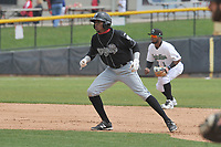 Lansing Lugnuts right fielder Edward Palacios (1) leads off first base during a game against the Clinton LumberKings at Ashford University Field on May 9, 2017 in Clinton, Iowa.  The Lugnuts won 11-6.  (Dennis Hubbard/Four Seam Images)